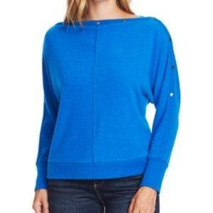 NWT Vince Camuto Boat-Neck Hardware Top Blue